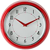 Lilyu0027s Home Retro Kitchen Wall Clock, Large Dial Quartz Timepiece, Red, 9.5u201d