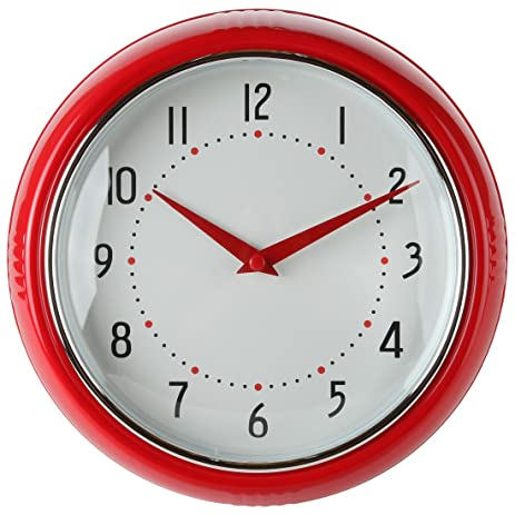 Lilyu0027s Home Retro Kitchen Wall Clock, Large Dial Quartz Timepiece, Red, 9.5u201d