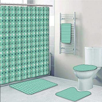 Amazoncom Prunus 5 Piece Bathroom Set Includes Shower Curtain