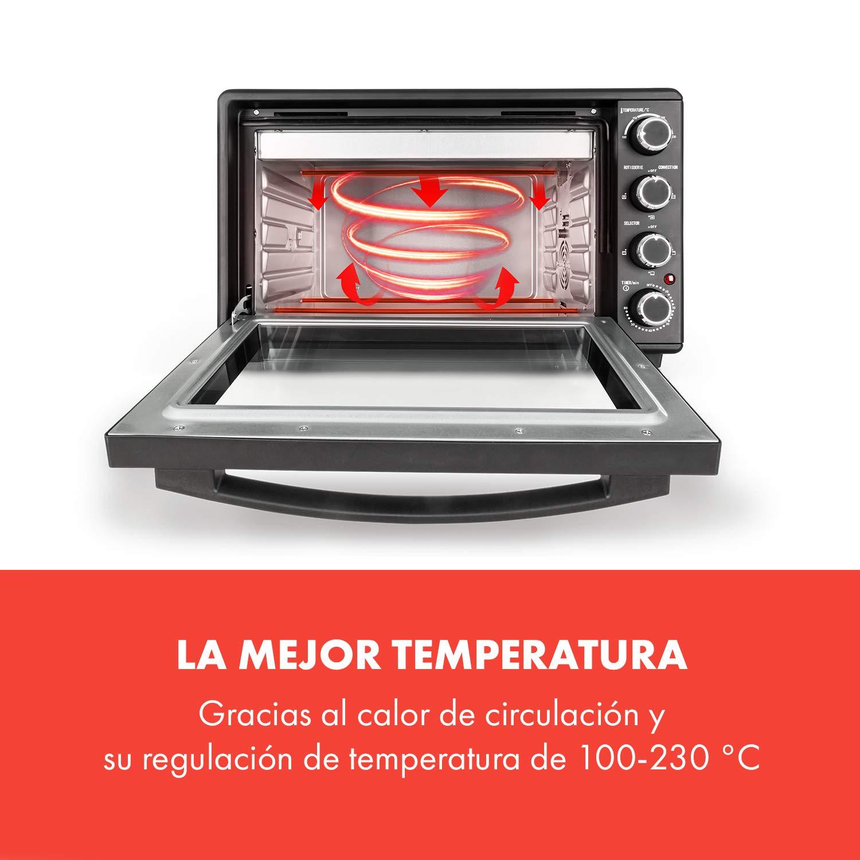 KLARSTEIN Masterchef 45 Mini Horno - 45 litros, 2000 W, temperatura: 100-230 °C, asador giratorio, función de circulación de aire, temporizador, ...