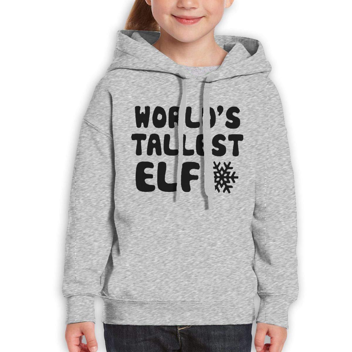 Boys Girls Worlds Tallest Elf Teen Youth Hoody Gray XL