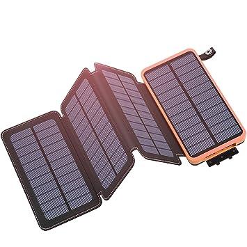Hiluckey Cargador Solar 25000mAh Portátil Power Bank con 4 Paneles Solar Batería Externa Impermeable para Smartphone, iPhone, iPad, Samsung, Android