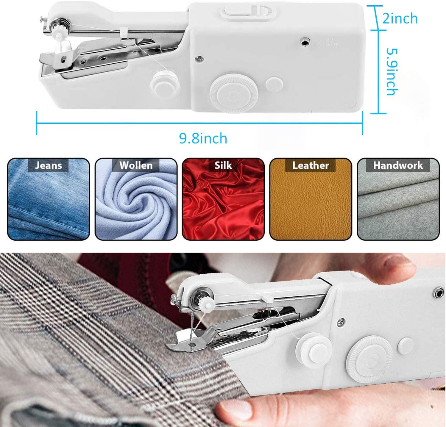 Sewing Machine for Beginners Quick Handy Stitch for Fabric Mini Portable Electric Sewing Machine Kids Cloth Hand Sewing Machine Clothing