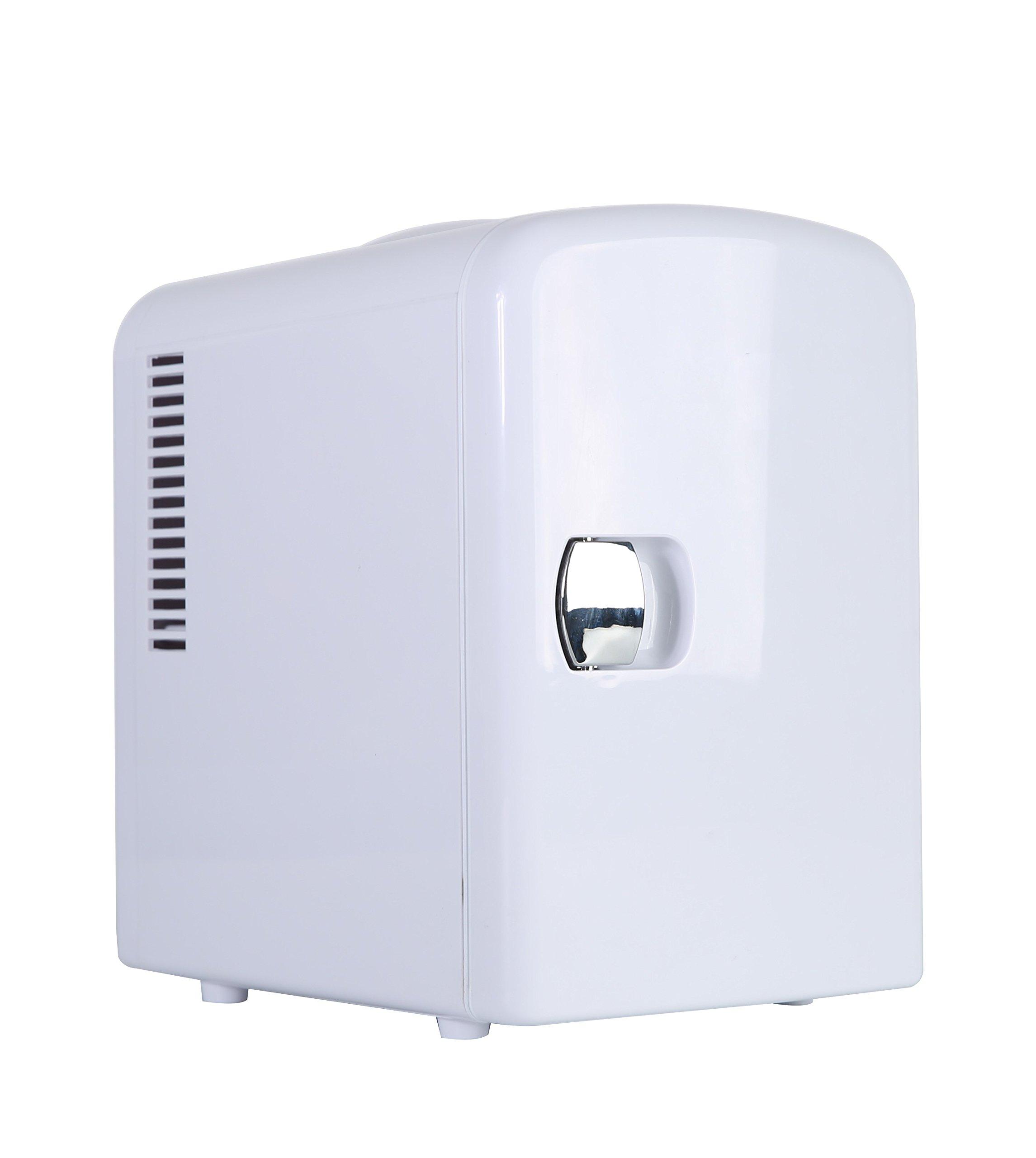 Portable 6 Can Mini Fridge Cooler - Home,Office, Car or Boat - AC & DC - White - 110/120V