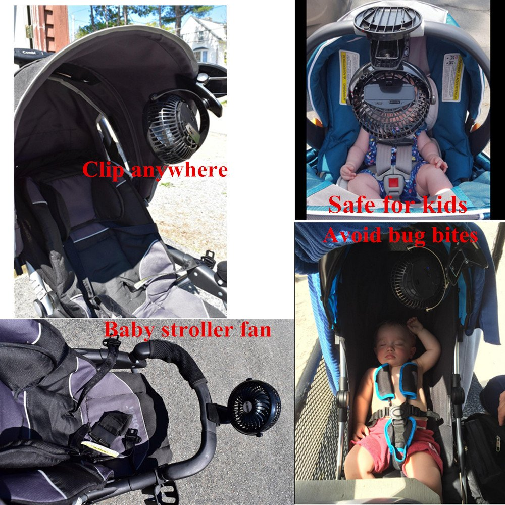 BLUBOON Clip on Fan Battery Operated Fan Portable for Baby Stroller 5'' (Two Batteries, one for Backup) by BLUBOON (Image #8)