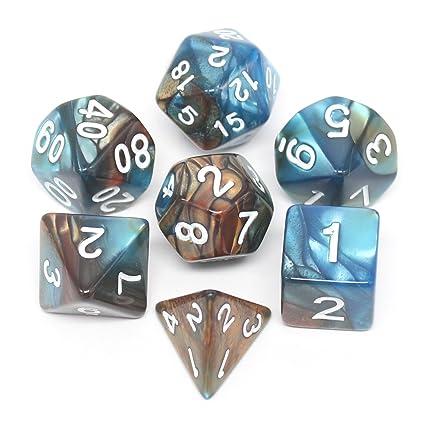 Pack de 7 dados poliédricos con bolsa para juegos de mesa, color ...