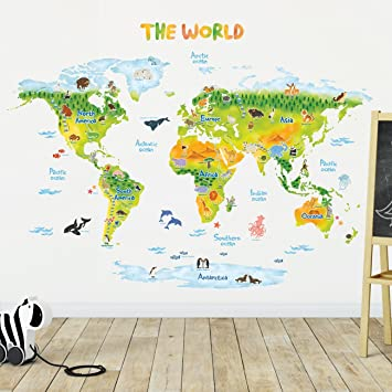 Amazon decowall dlt 1715 geological world map with animals kids decowall dlt 1715 geological world map with animals kids wall stickers wall decals peel and gumiabroncs Gallery