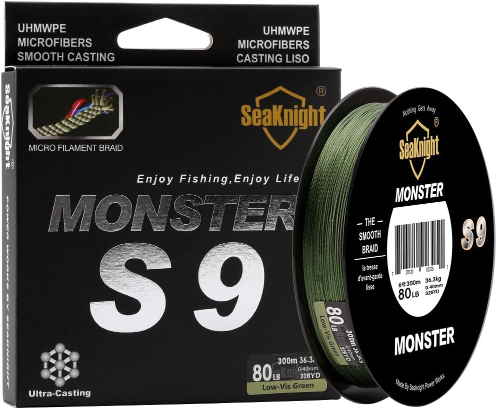 SeaKnight Monster S9 9 Strands PE Braided Fishing Line Super Strong 300M 327Yds Long Casting Best Fishing Line