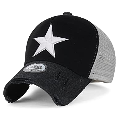 d26db38a6e7 ililily Star Embroidery tri-Tone Trucker Hat Adjustable Cotton Baseball Cap