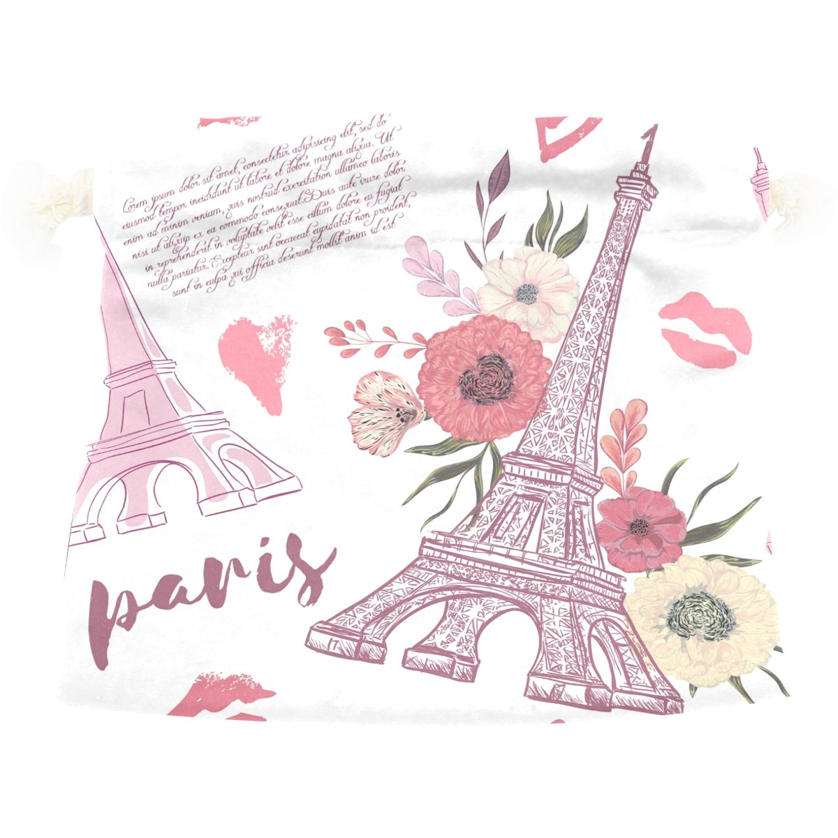 Dragon Sword Paris Eiffel Tower Floral Gift Bags Jewelry Drawstring Pouches for Wedding Party, 6x8 Inch