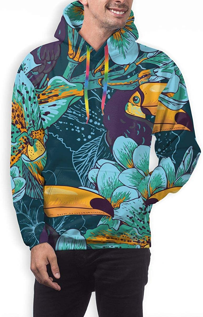 Funny Cool Outwear Flowers Toucan Pullover Hooded Sweatshirts for Boys Mens