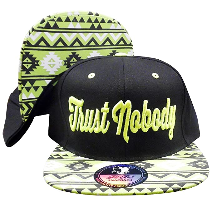 2d0a45ea574 Trust Nobody Unisex Snapback Hat 2pac Black-Neon Green One Size at ...