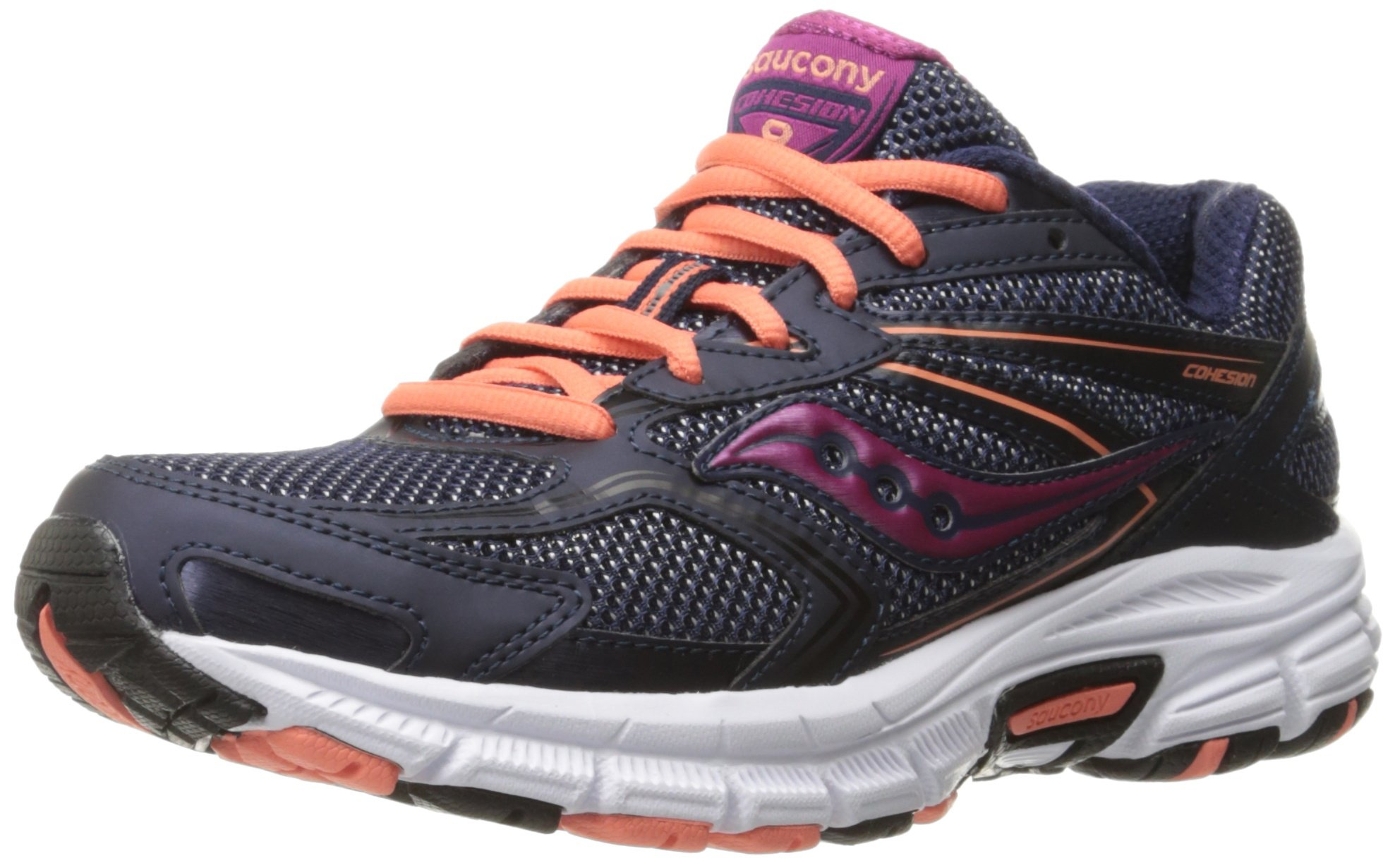 Saucony Women's Cohesion 9 Running Shoe, Navy/Coral/Pink, 10 M US
