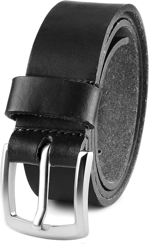 MONIQUE Men Full Grain Leather Black 1.5 Wide USA Steer Hide Metal Buckle Belt