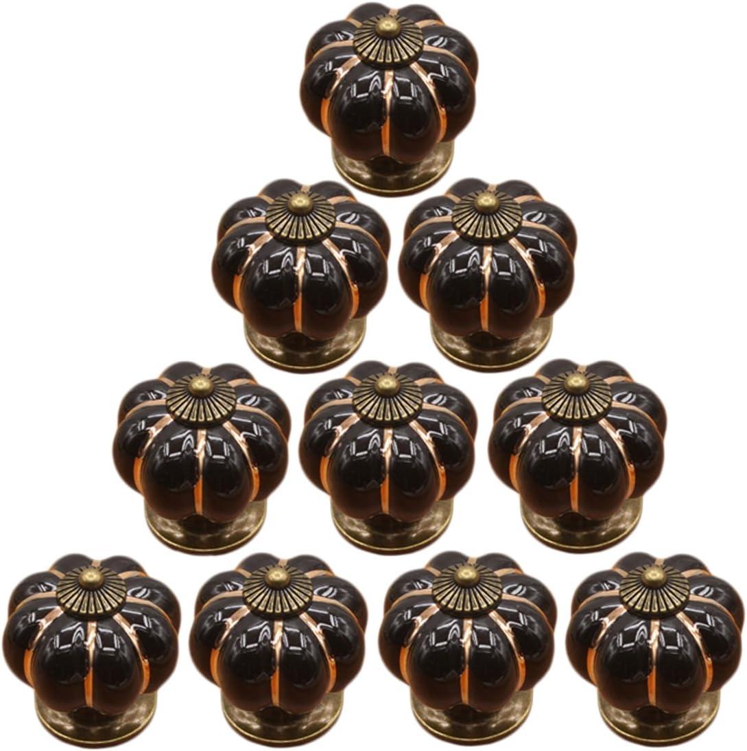 Noir Batop 10 x Bouton de Meuble Motif de Citrouille Style Poignee de Meuble D/écoration Porte Meuble Tiroir