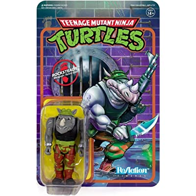 Super7 Rocksteady TMNT Teenage Mutant Ninja Turtles Reaction Action Figure: Toys & Games