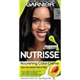 Garnier Nutrisse Level 3 Permanent Creme Hair Color, Black Licorice 10, 1 Application