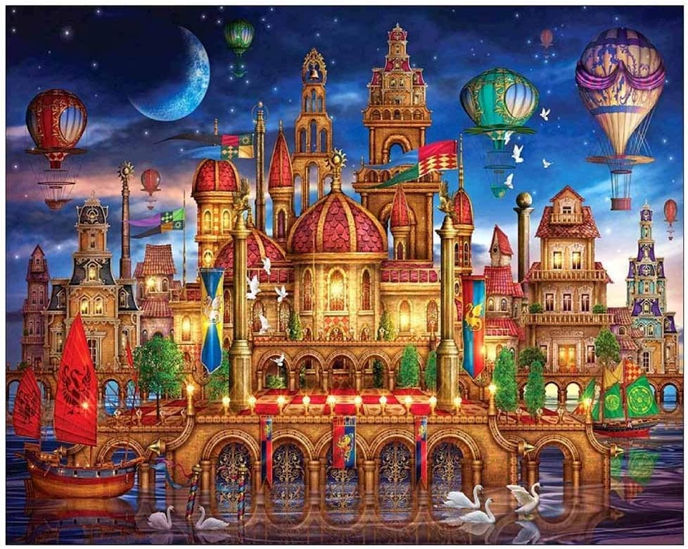5D Diamond Painting,Frameless Rhinestone Painting Drill Cross-Stitch Water Castle Palace by Numbers Embroidery Cross Stitch for Home Wall Decor