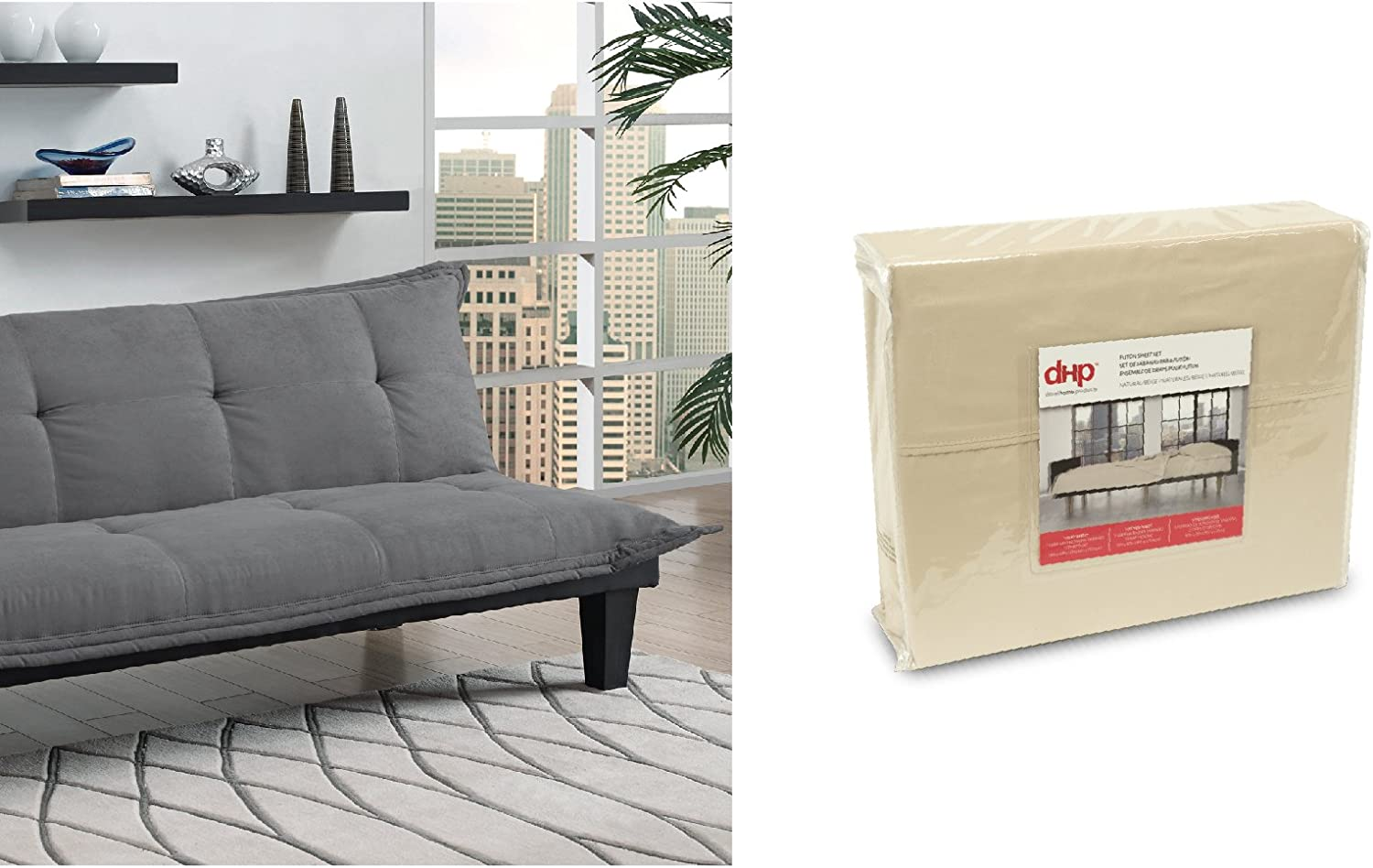 DHP Lodge Convertible Futon Couch Bed, Gray, and Futon Sheet Set, Beige