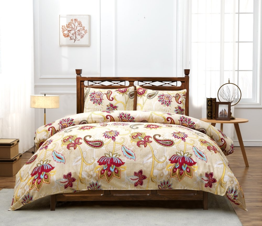 Kachabros Floral Duvet Cover Set with Zipper Closure - Ultra Soft Microfiber and Easy Care - 3 Piece (1 Duvet Cover + 2 Pillow Shams) queen size