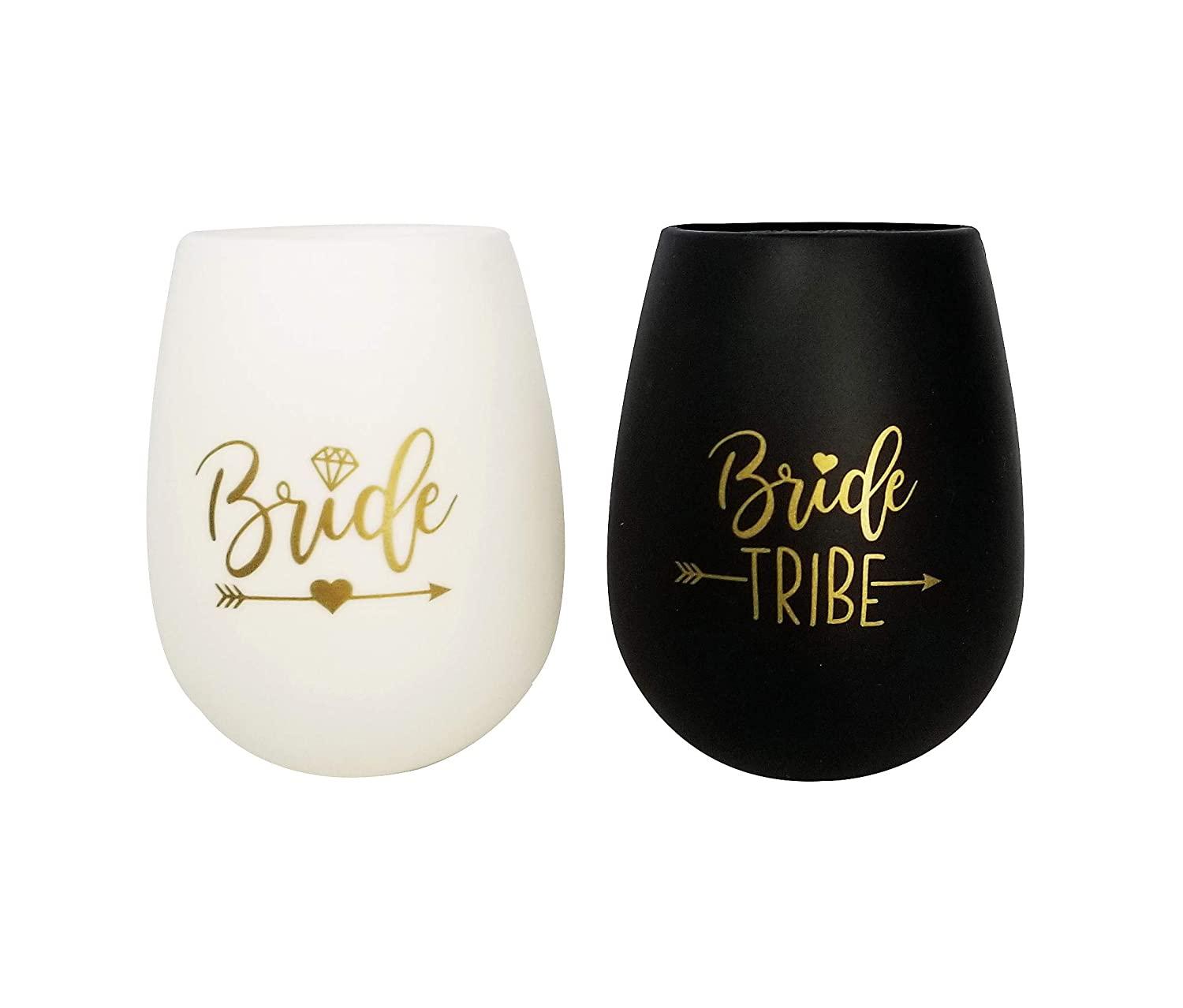 Set of 10 Black and Gold Bundle with Temporary Tattoos Bridesmaid Wedding Gift Party Favors Bachelorette Party Supplies Bride Tribe Bachelorette Party Silicone Wine Glass
