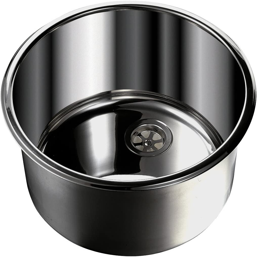 Image of Ambassador Marine Cylinder Stainless Steel Ultra Mirror Polished Finish Sink Kitchen & Bath Fixtures