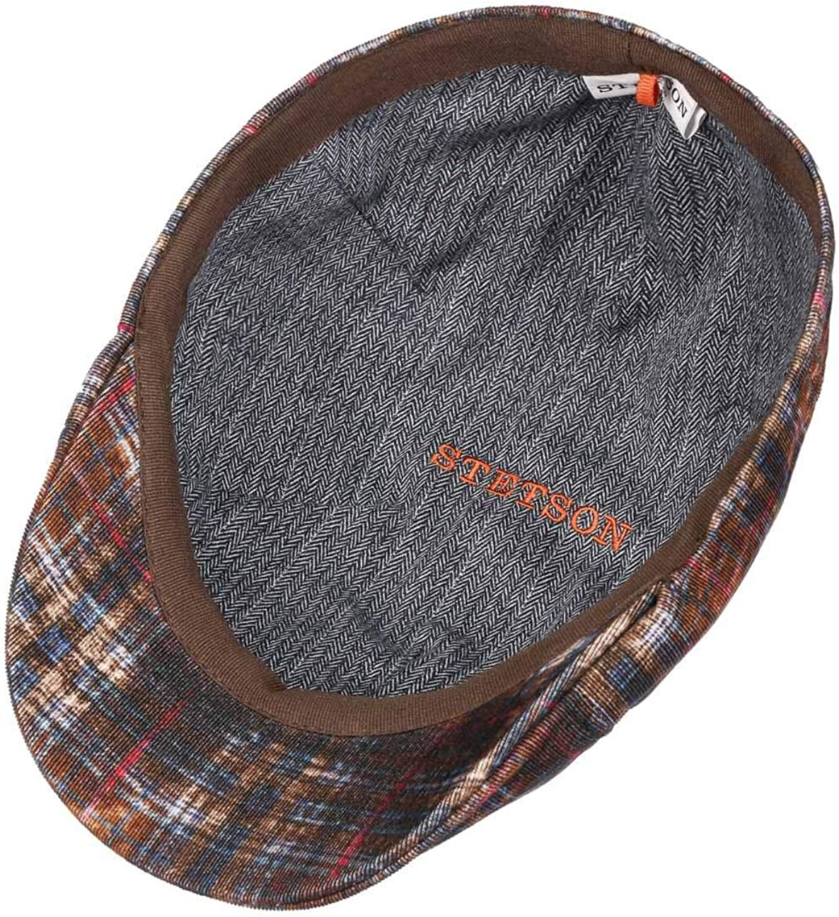Fodera Estate//Inverno Made in The EU Cotton cap Cappello Piatto con Visiera Stetson Coppola Texas a Coste Fine Uomo