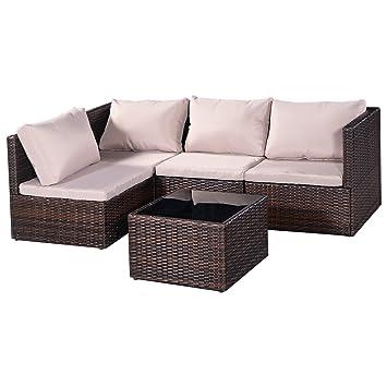 5tlg. Rattanmöbel Gartenmöbel Loungeschair Sitzgruppe Polyrattan Ratten  Garten Lounge Möbel Set