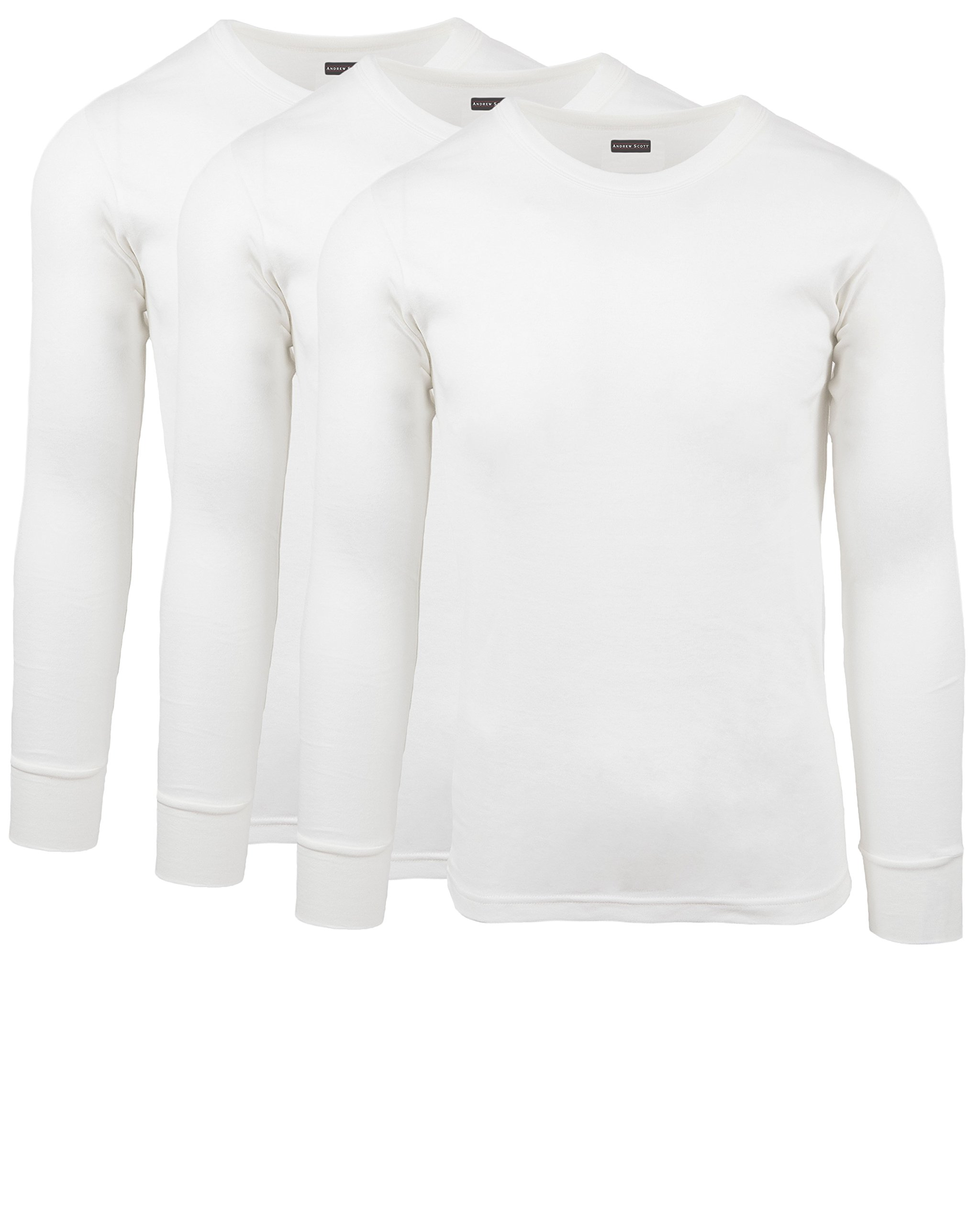 Andrew Scott Men's 3 Pack Premium Cotton Thermal Top Base Layer Long Sleeve Crew Neck Shirt (3XL, 3 Pack - Warm White) by ANDREW SCOTT
