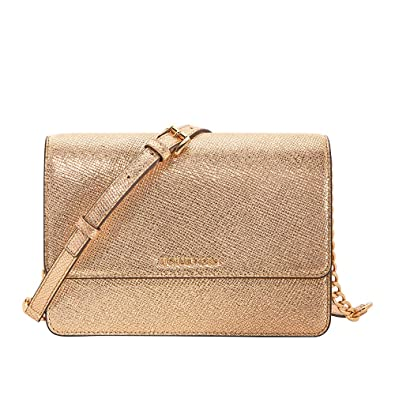 640aa631e07e1 Michael Kors Women's Gold Leather Large Crossbody Bag: Handbags ...