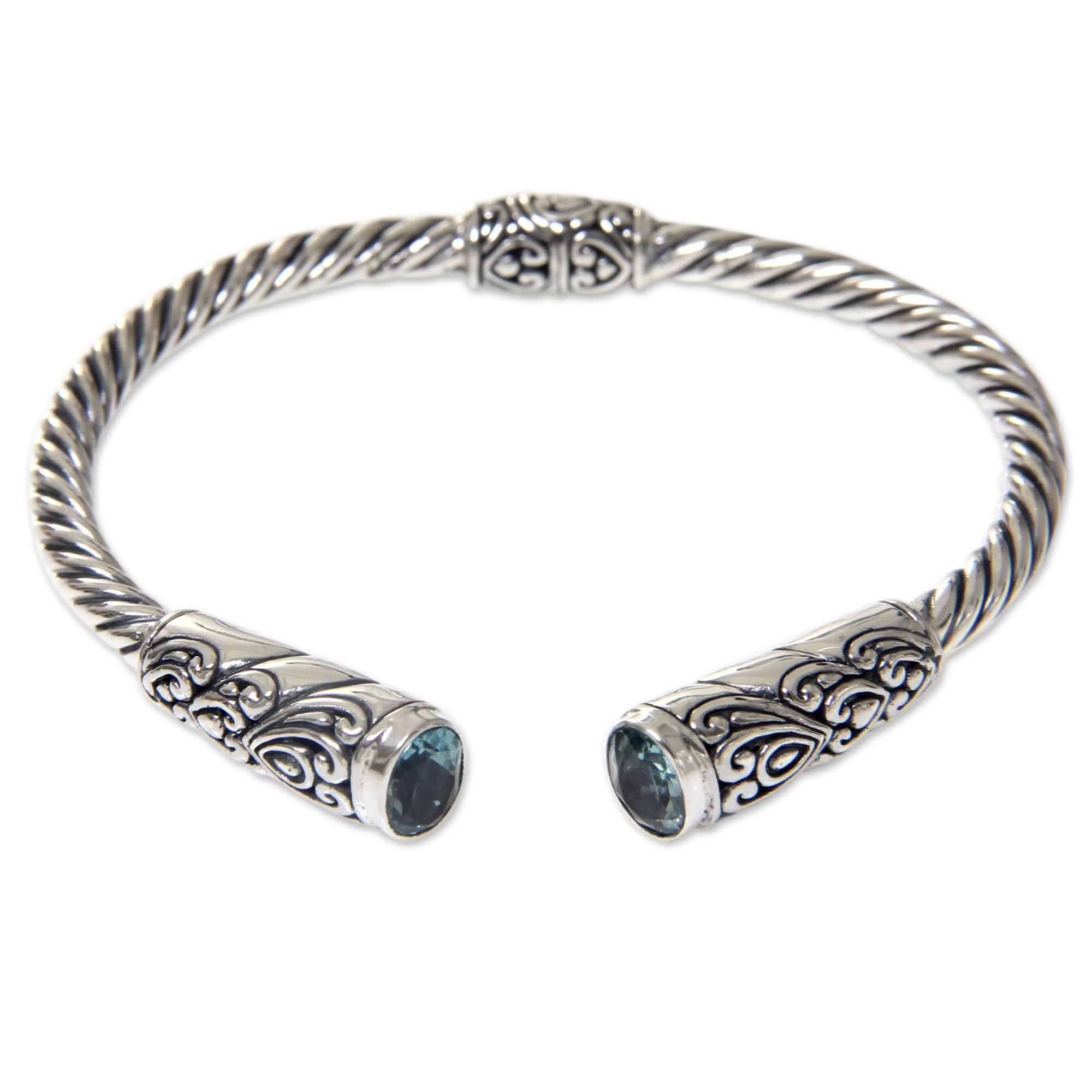 NOVICA Blue Topaz .925 Sterling Silver Hinged Cuff Bracelet 'Beacon of Light'
