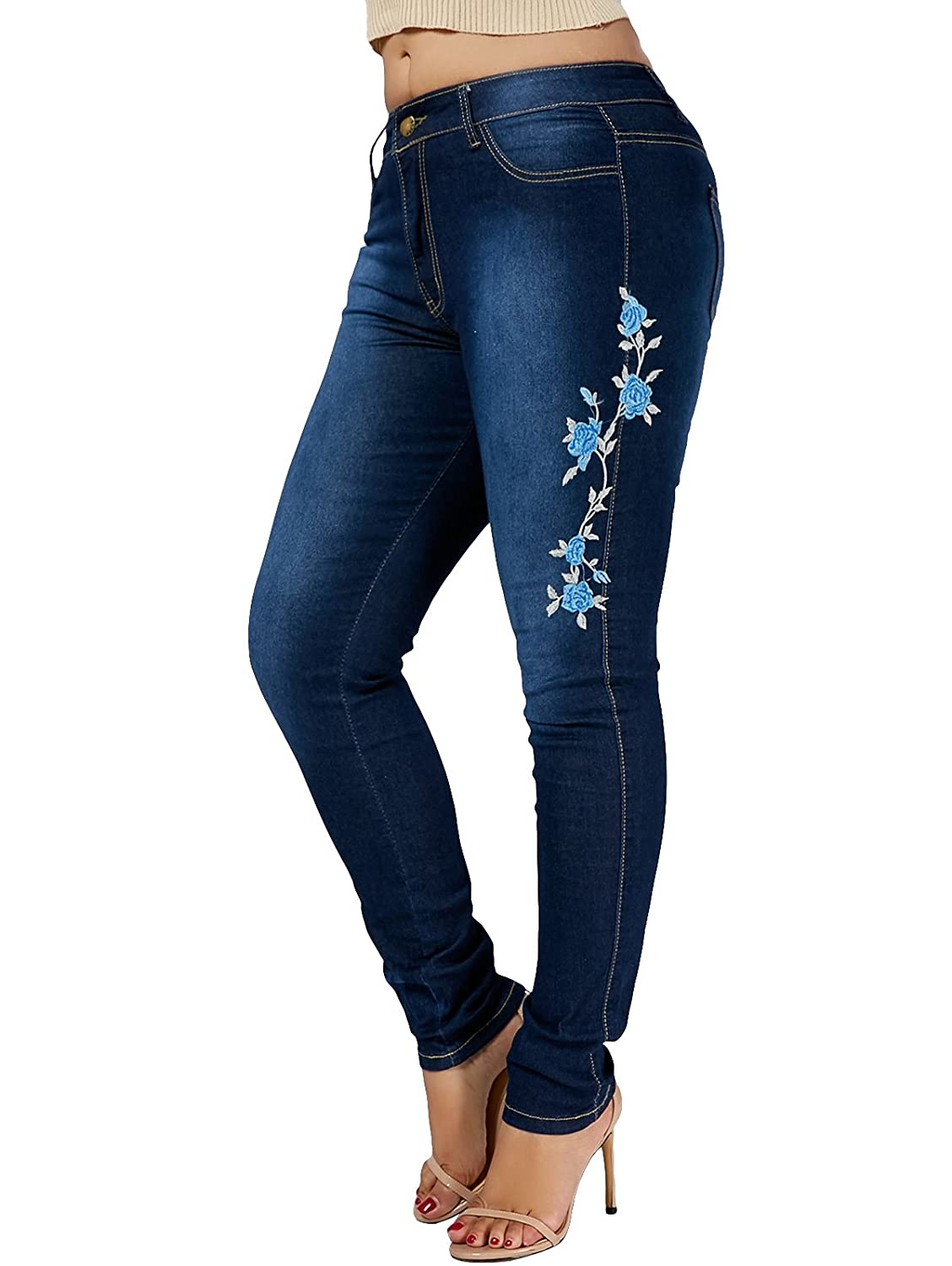 d624277218 Material: Polyester+Demin, stretch and comfort. Embroidered roses design  jeans let you look more energetic. Casual denim jeans that pair well with  fitted, ...