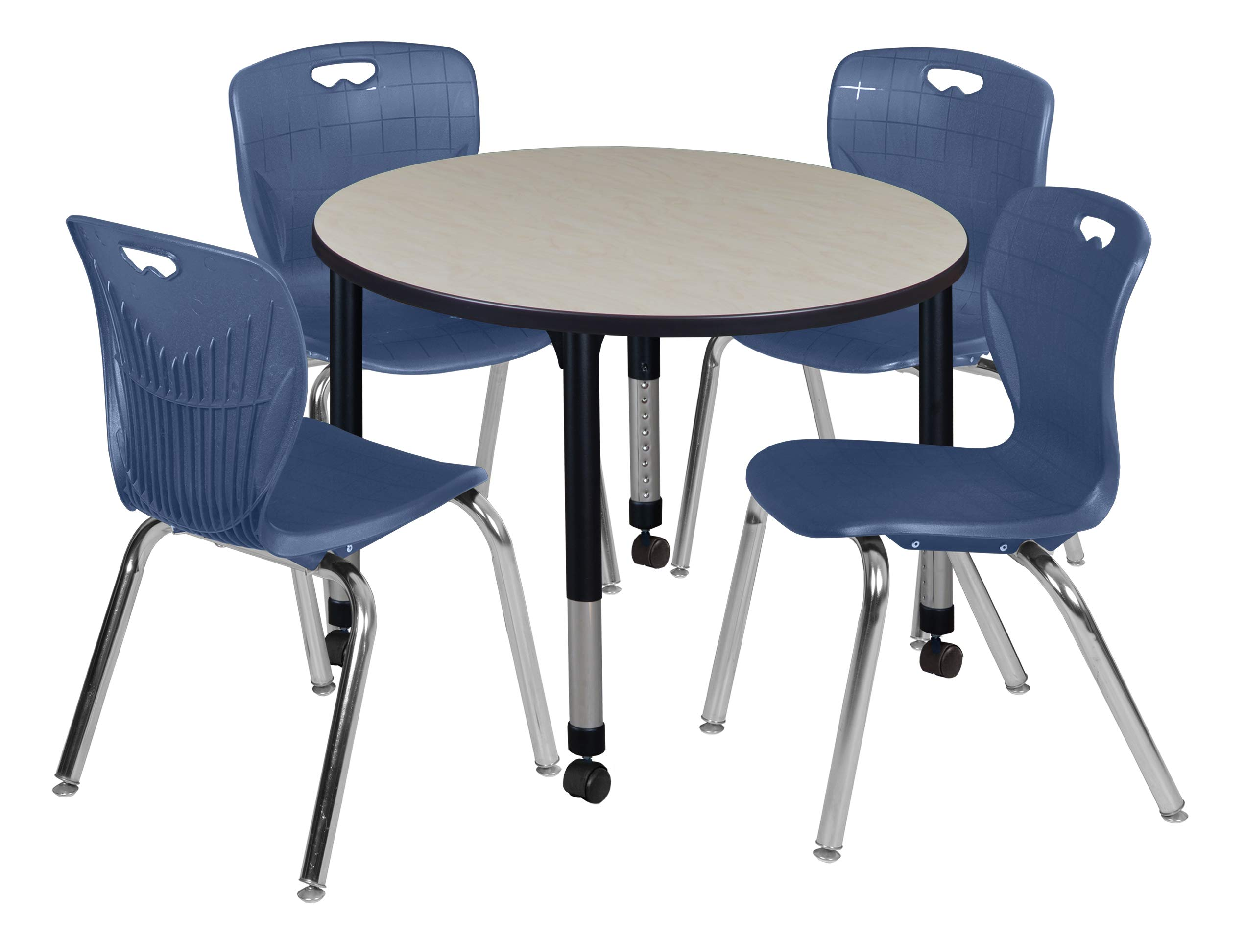 Regency TB42RNDPLAPCBK40NV Kee Height Adjustable Mobile Classroom Table Set with Four 18'' Andy Chairs 42'' Maple/Navy Blue