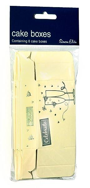 Foil Cake Box Pack of 8 Cream Gold