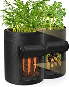 Kgihope Potato Grow Bags, 2 Pack Plant Grow Bags 7 Gallon Heavy Duty Thickened Growing Bags Garden Vegetable Planter with Handles & Large Harvest Window