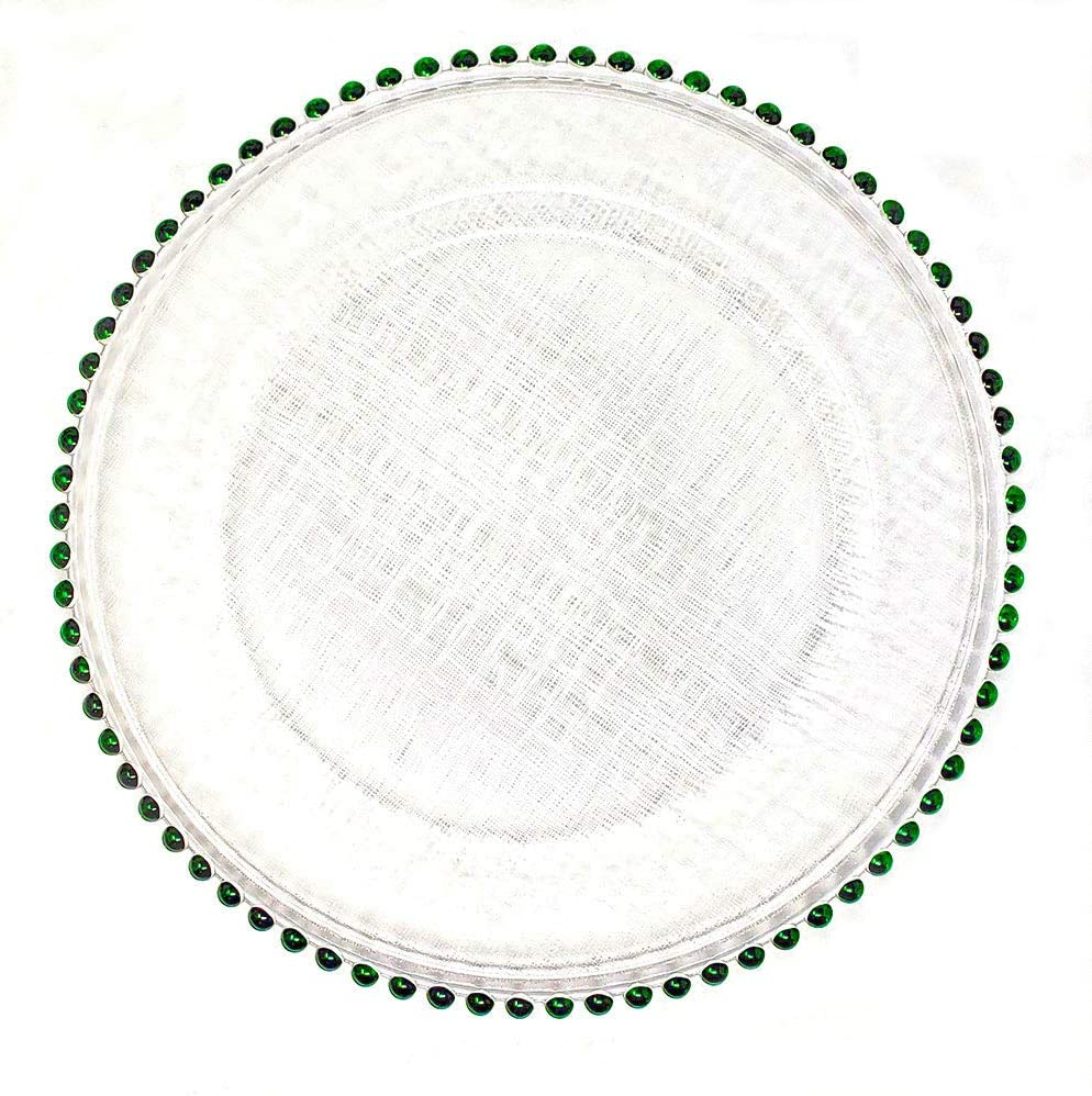 #1 Christmas Festive Red and Green Combo 13-Inch Beaded Rim Clear Glass Charger Plates Wedding Christmas Anniversary Modern Formal Service Dining Entertaining Home Kitchen Party Decor (8, green)