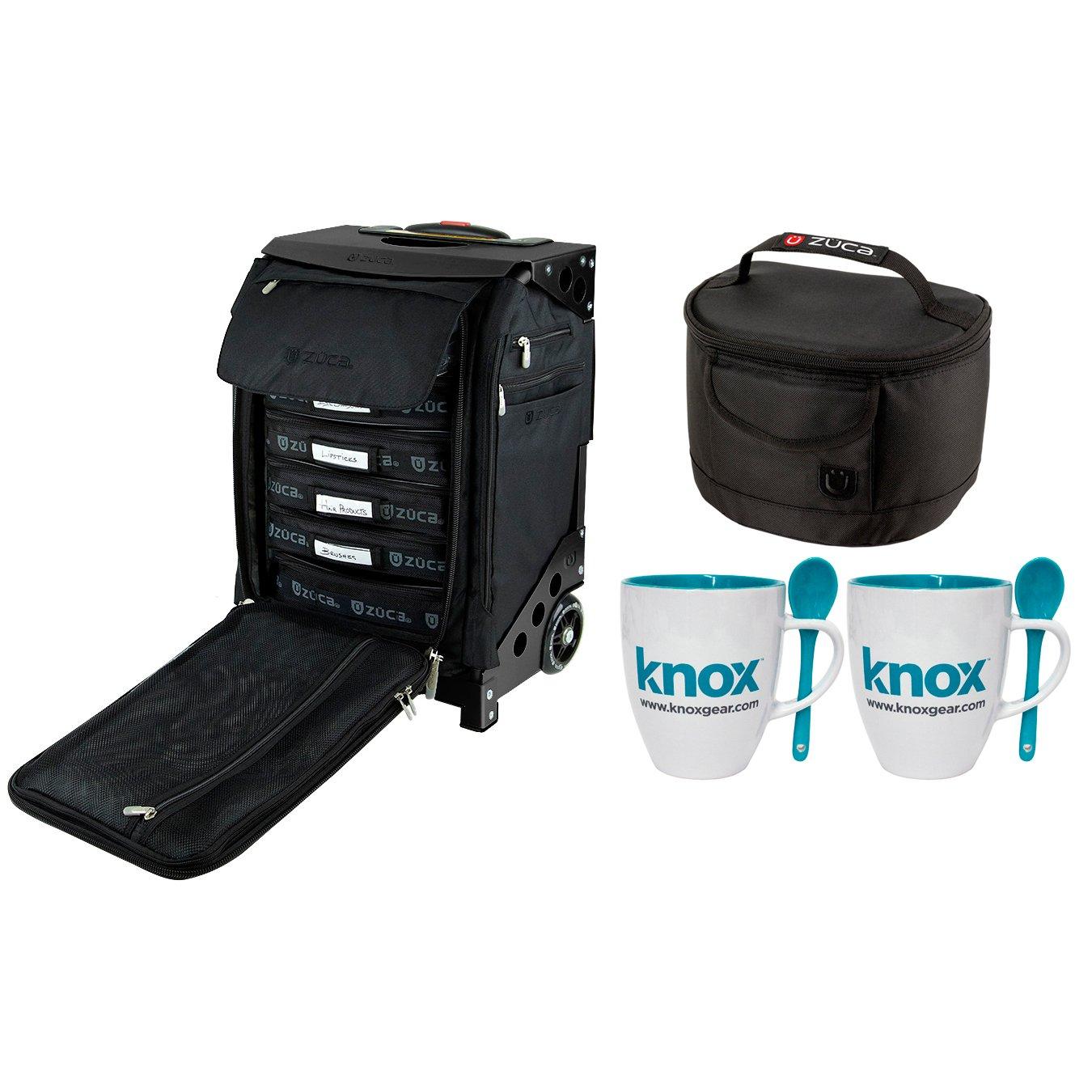 ZUCA Flyer Artist Bag & Frame w/Matching Lunchbox and 2 Knox Mugs (Black/Black)