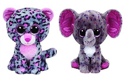 4b8eb4e19e6 Amazon.com   Ty Specks   Tasha Pink grey Leopard Beanie Boos Set of ...