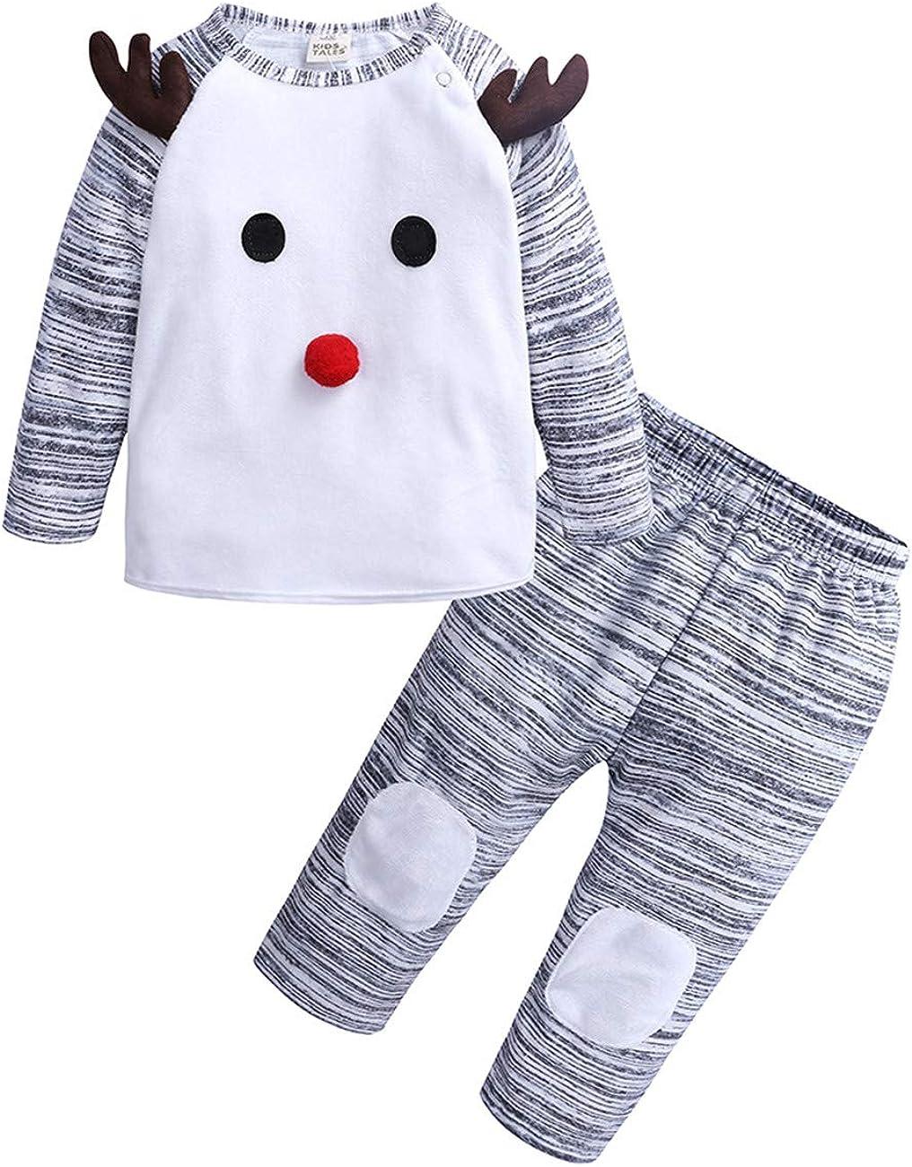 SERAPHY Ropa de Ciervos navideños Trajes Bebe niño Conjunto de Top + Pantalones de Dibujos Animados Bebé niña Linda Cosplay Disfraz Regalos para Bebes