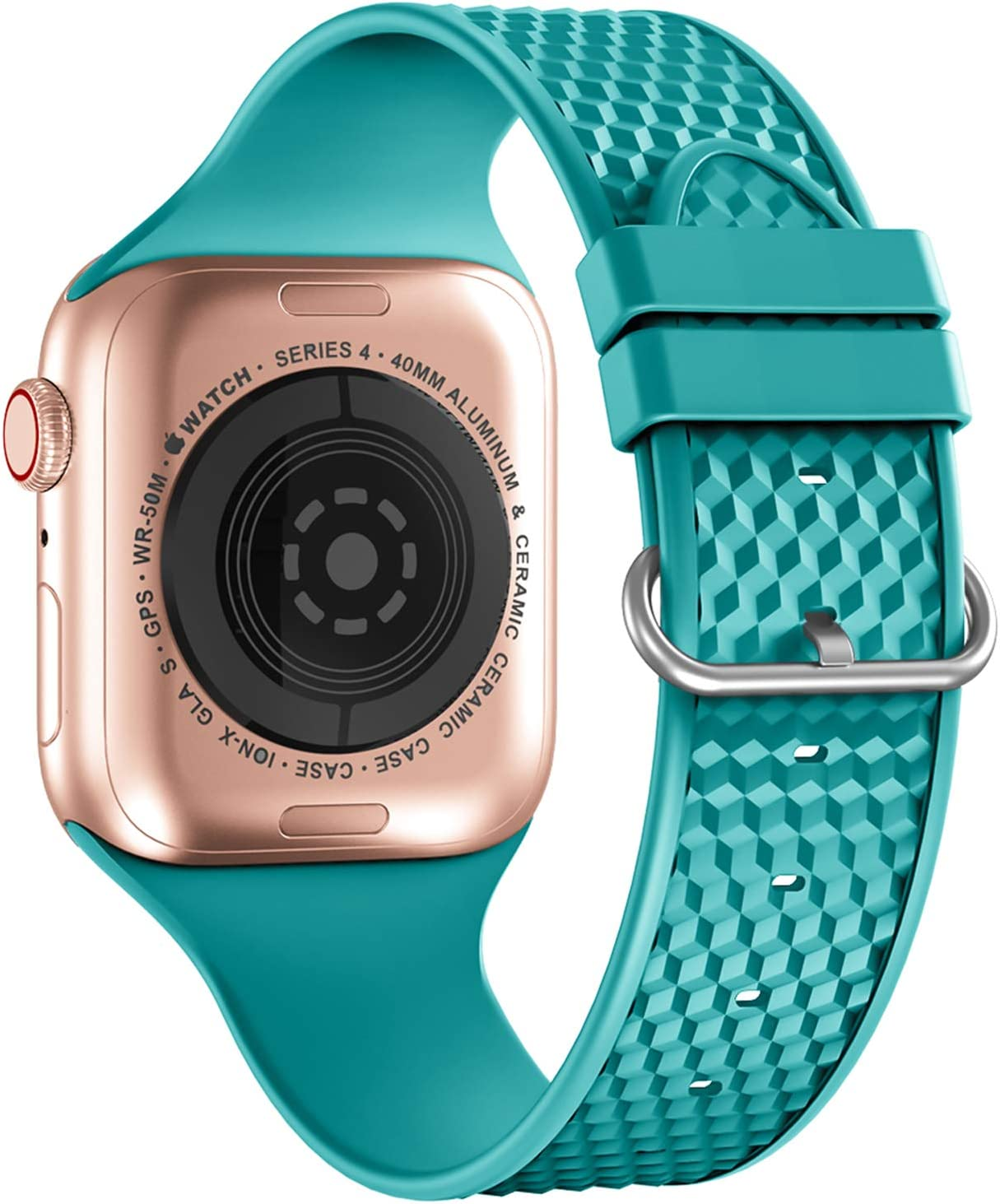 iWabcertoo Sport Bands Compatible with Apple Watch Band 38mm 40mm, Soft Silicone Replacement Band Wrist Strap Compatible for iWatch Series SE/6/5/4/3/2/1, Sport, Edition, Women Men (Teal)