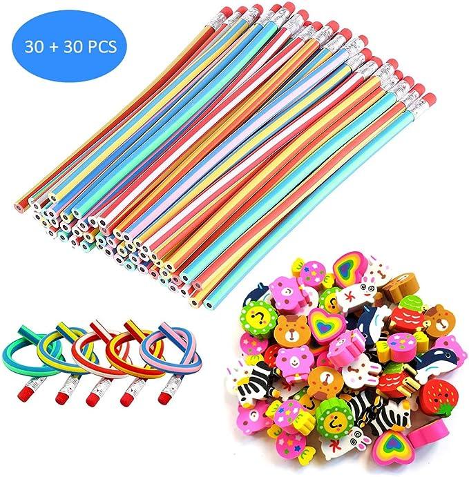 Sunarrive 30 Lapices Flexibles con 30 Goma de Borrar - Material Escolar Kawaii - Piñatas de Cumpleaños - Fiesta Cumpleaños Regalos para Niños Niña Infantiles Colegio: Amazon.es: Juguetes y juegos