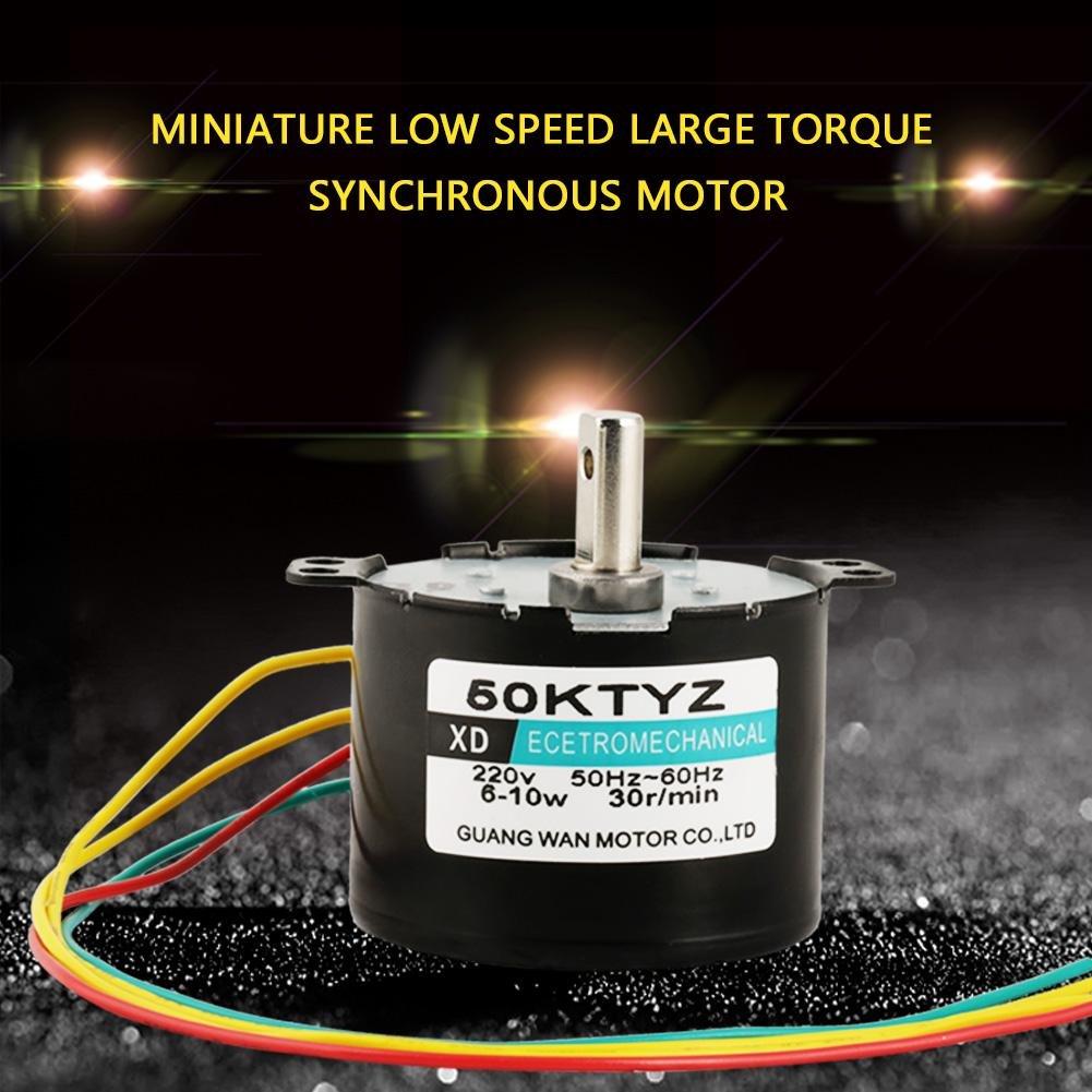 50KTYZ AC 220V 6-10w Moteur Synchrone /à Aimants Permanents CW//CCW Moteur Electrique /à Couple Elev/é /à Faible Vitesse 30rpm