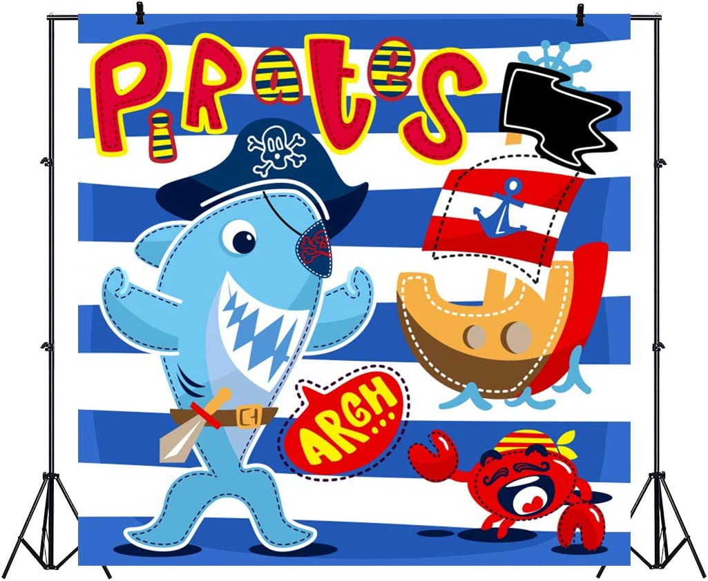 8x12 FT Pirates Vinyl Photography Background Backdrops,Pirates Flowers Ship Whale Crab and Octopus Sweet Characters Cartoon Style Background for Photo Backdrop Studio Props Photo Backdrop Wall