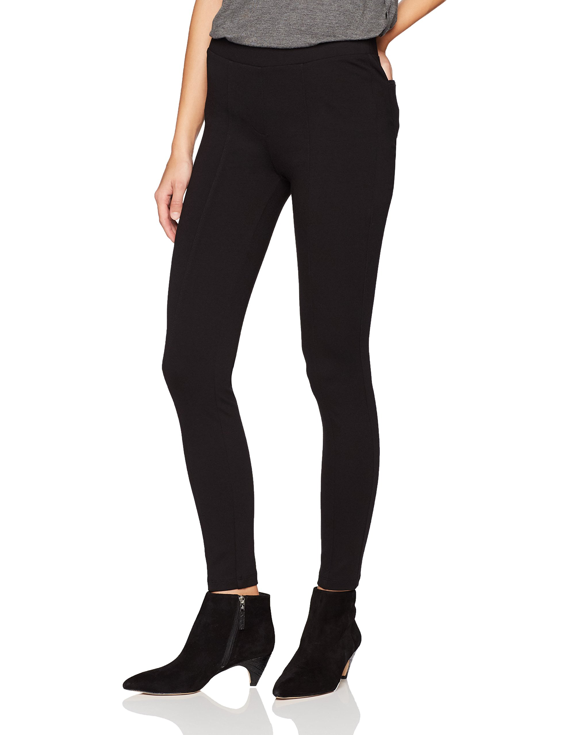 Daily Ritual Women's Seamed Front, 2-Pocket Ponte Knit Legging, Black, XL, Short