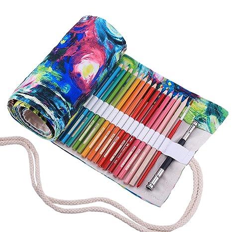 Abaría - Bolso para lápices, Estuche Enrollable para 48 lapices Colores, portalápices de Lona, Bolsa Organizador lápices para Infantil Adulto, Pintura ...