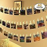 40 Led Fotoclips Lichterkette,ECOWHO 8 Modi Warmweiß Batteriebetriebene LED Lichterkette mit Fernbedienung & Timer, Ideal für hängende Bilder, Foto & Weihnachten, Party,Halloween Deko