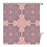 Liguo88 Custom Waterproof Bathroom Shower Curtain Polyester Arabian Decor Collection Arabesque Round Patterns in Oriental Islamic Eastern Persian Religious Motif Artprint Pink Teal Decorative bathro