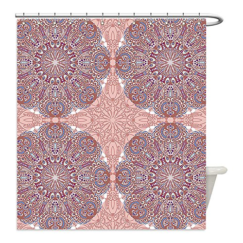 Liguo88 Custom Waterproof Bathroom Shower Curtain Polyester Arabian Decor Collection Arabesque Round Patterns in Oriental Islamic Eastern Persian Religious Motif Artprint Pink Teal Decorative bathro by liguo88