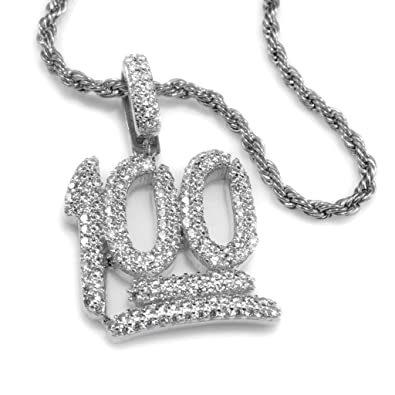 c17c975ac1c1f Amazon.com: 18k White Gold Iced Out 100 Emoji by Niv's Bling - This ...