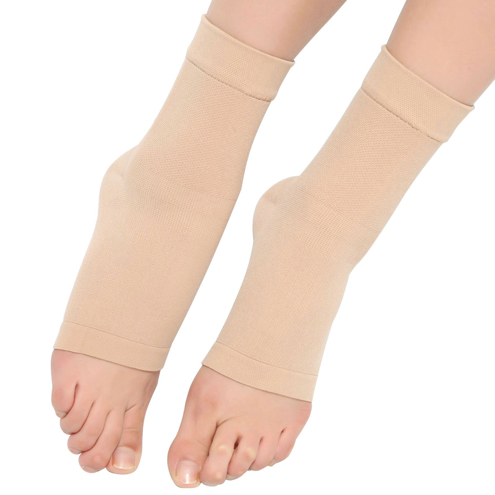 Spotbrace Medical Compression Breathable Ankle Brace, Elastic Thin Ankle Support, Pain Relief Ankle Sleeve For Unisex Ankle Swelling, Achilles Tendonitis, Plantar Fasciitis and Sprained - Nude, 1 Pair by Spotbrace (Image #2)
